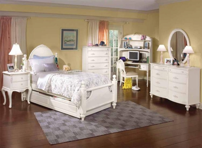 cheri distressed white floral design youth bedroom set free shipping
