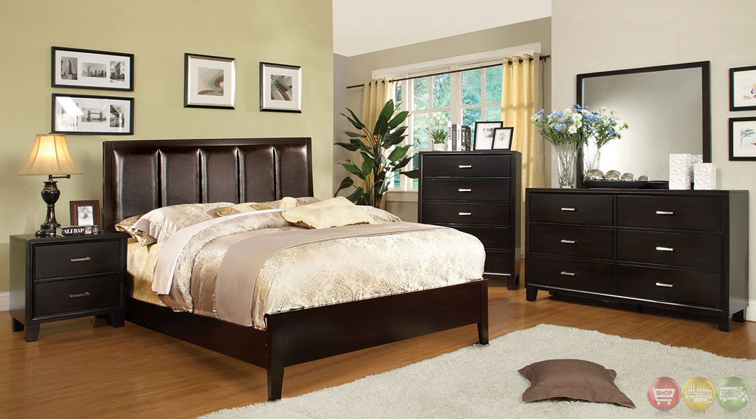 Chester Contemporary Espresso Bedroom Set with Leatherette Headboard ...