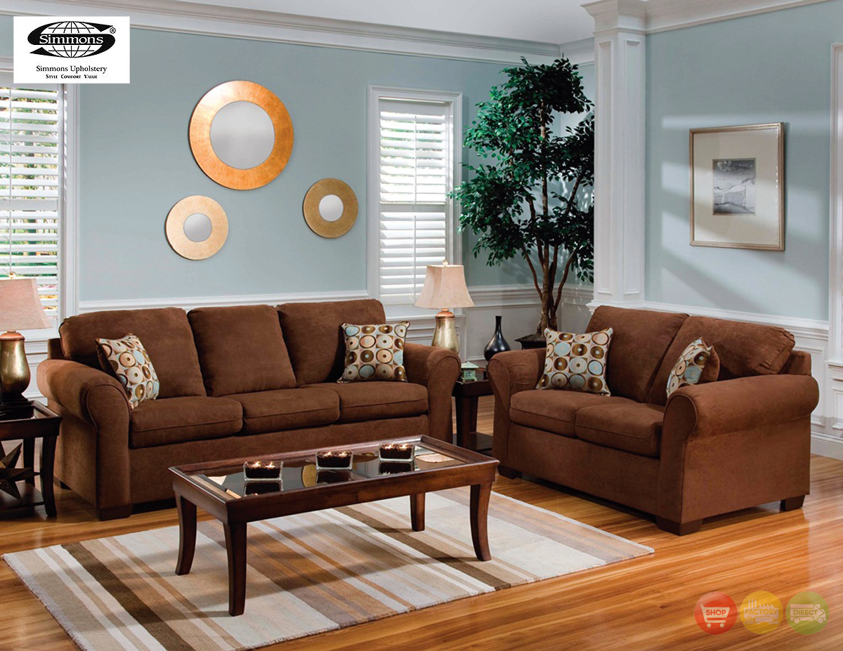 Brown microfiber sofa and love seat living room furniture set