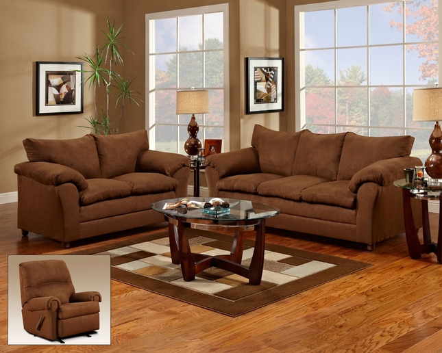 Chocolate Microfiber Upholstered Sofa And Love Seat Living Room Set