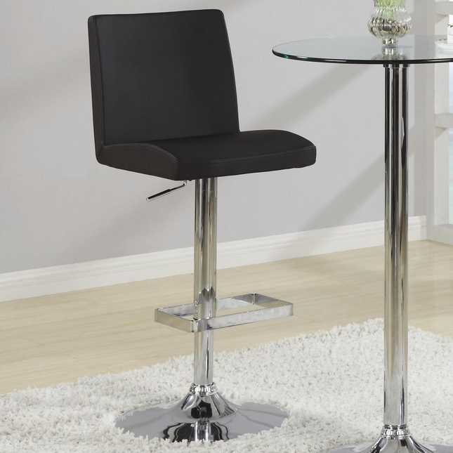 Set of 2 Contemporary Bar Stools with Chrome Pedestal