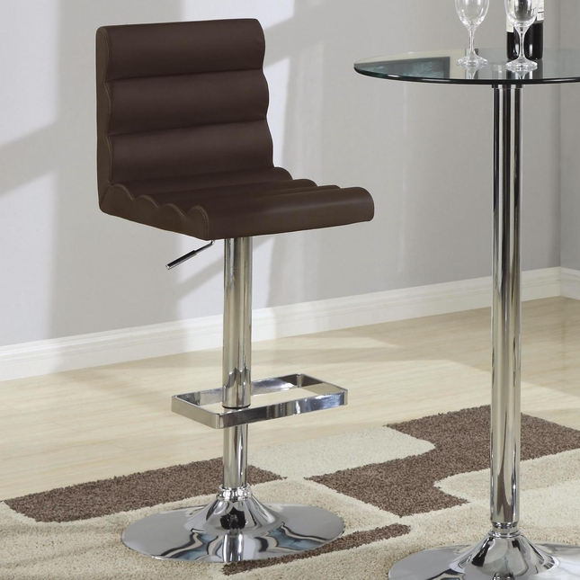 Chrome Finish Set of 2 Wavy Design Adjustable Height Barstools