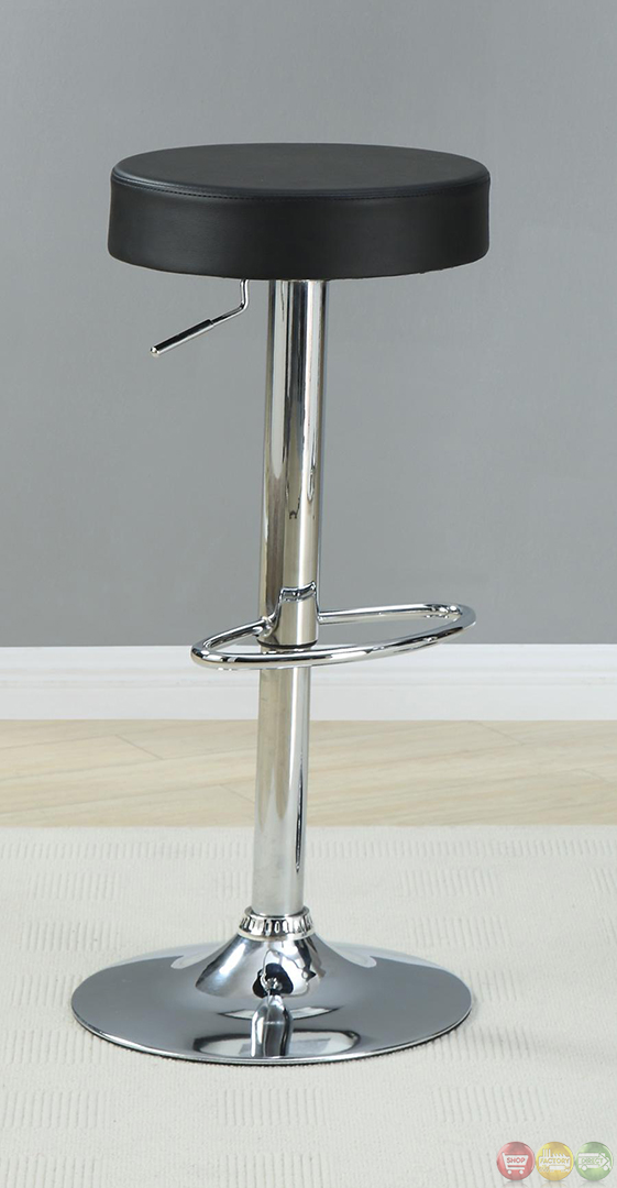 Chrome Pedestal Base 24 Inch Adjustable Round Bar Stool Ebay