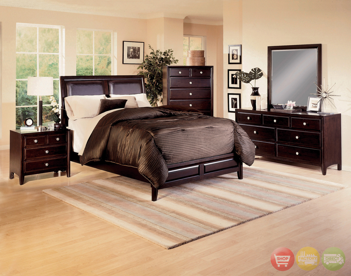 Claret Upholstered Bed Contemporary Bedroom Furniture SetFree ...