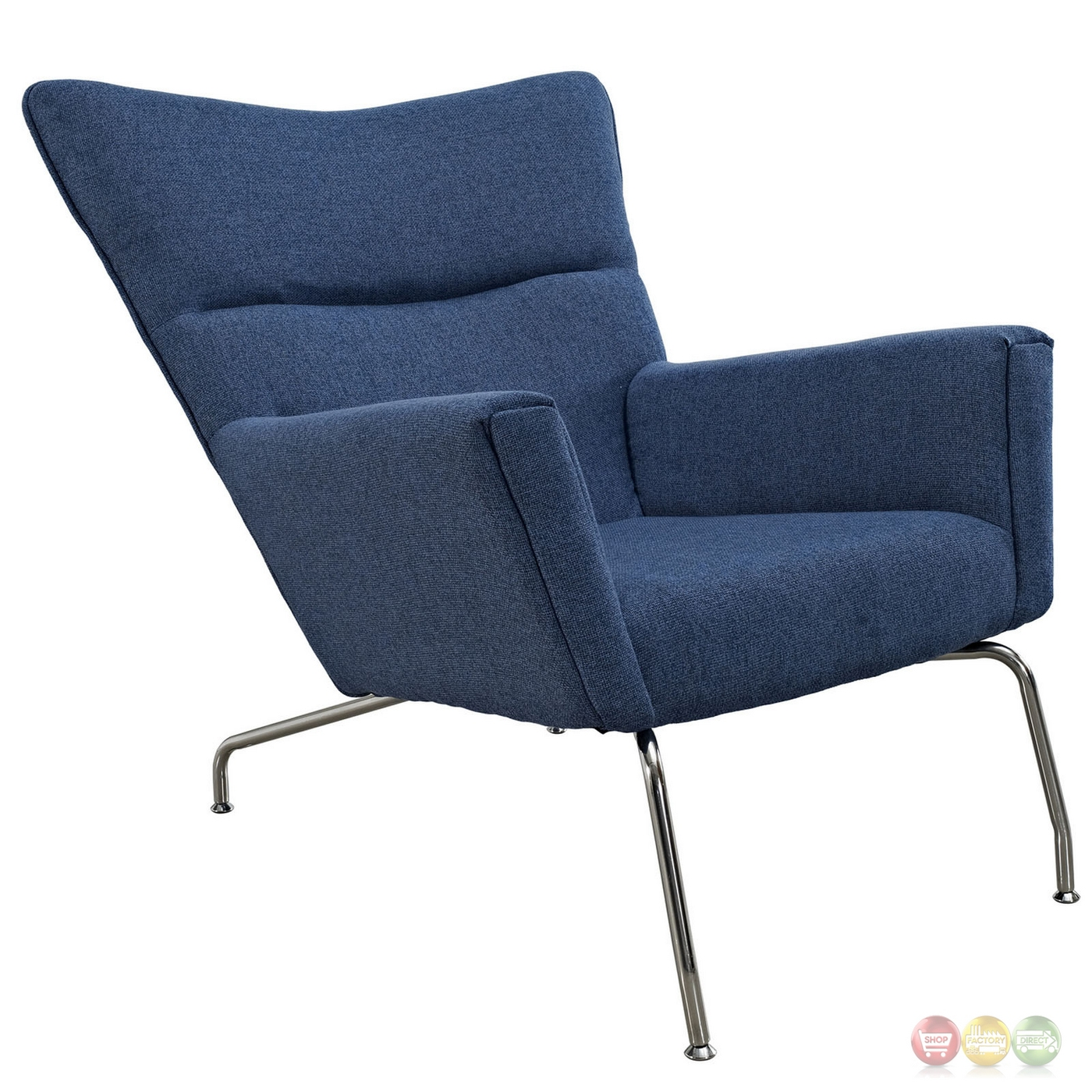 Class Modern Wing back Upholstered Lounge Chair W chrome Legs Blue Tweed