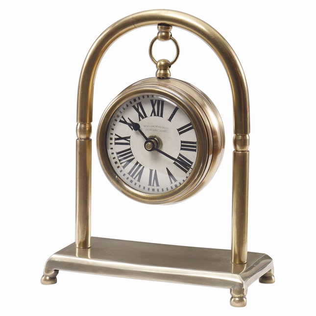 Classic Bahan Brass Table Clock With Brass Stand, Ivory Face And Quartz Movement