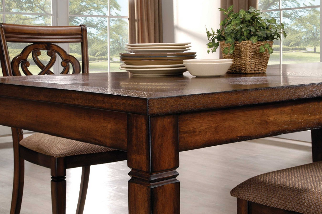 Oak Transitional Style 7 Piece Dining Room Table And Chairs Set. Full resolution  img, nominally Width 1350 Height 898 pixels, img with #643C23.