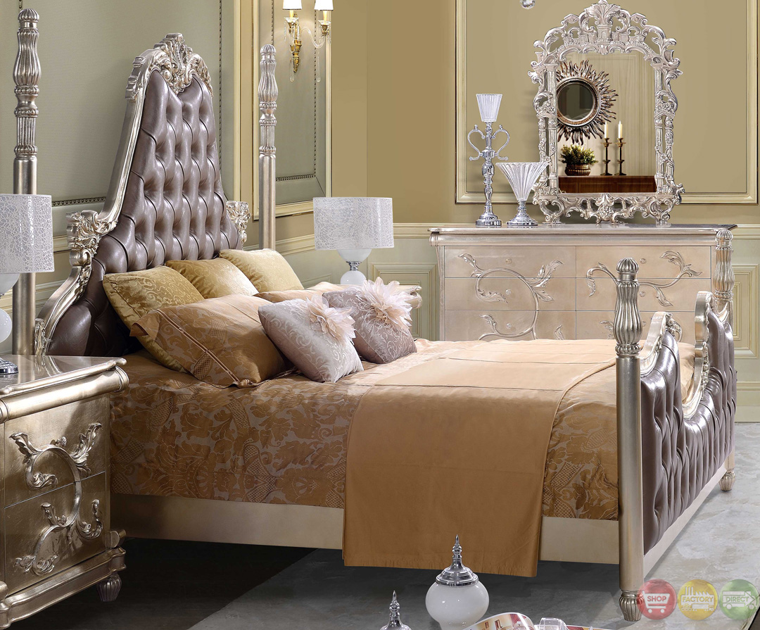 Victorian Inspired Button Tufted Bedroom Set In Metallic