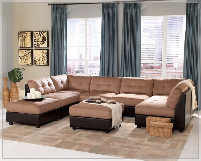 Claude Two Tone Modular Sectional Sofa with Buttonless Tufted Microfiber
