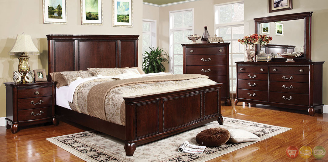 claymont transitional cherry bedroom set with large raised panel