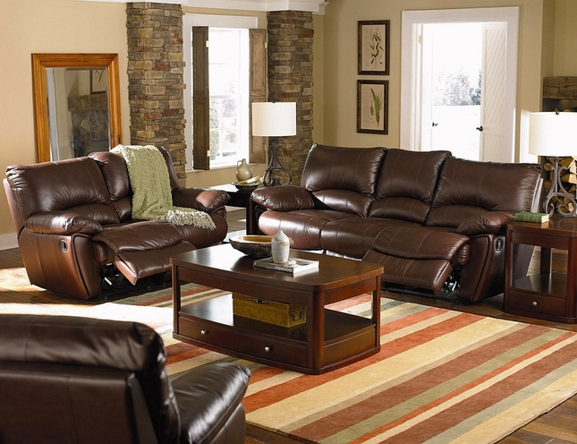 Clifford Brown Genuine Leather Reclining Sofa & Loveseat Set w/ Power Recline Option