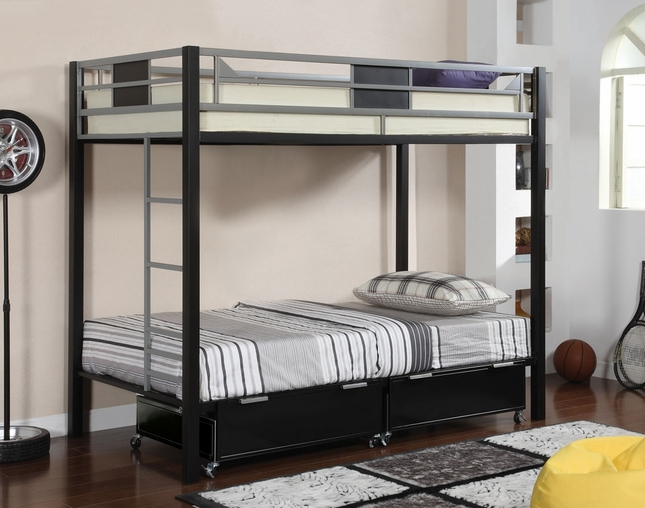 Clifton I Contemporary Silver and Black Bunk Bed