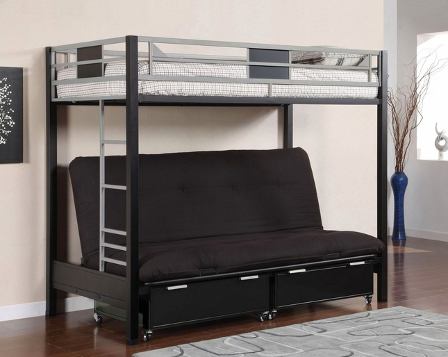 Clifton III Contemporary Silver Black Twin Bunk Bed w/Full Size Futon