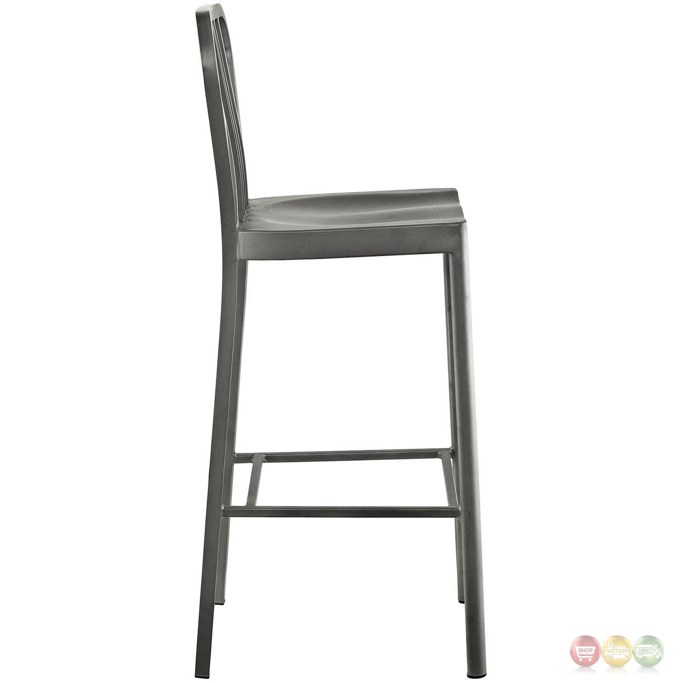 Clink Industrial Bar Stool With Brushed Steel Finish Silver