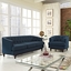 Mid-Century Modern Coast 2-pc Sofa & Armchair Living Room Set, Azure