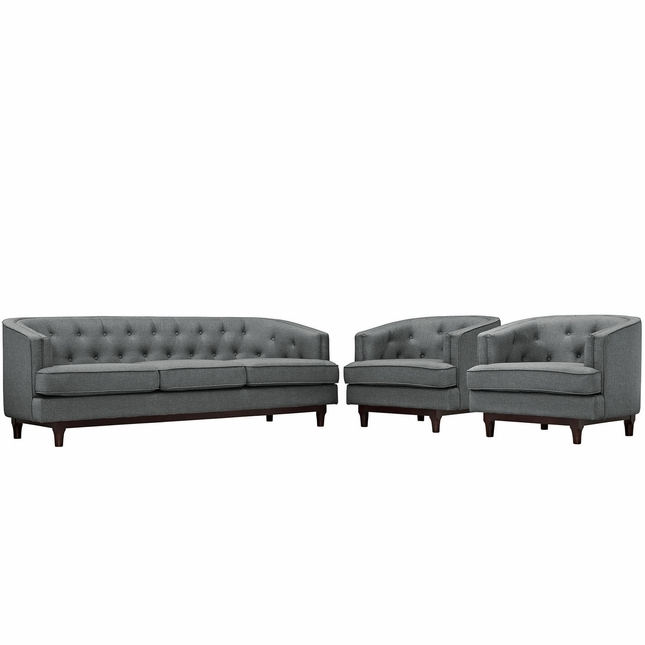 Coast Modern 3-pc Upholstered Sofa & Armchairs Living Room Set, Gray