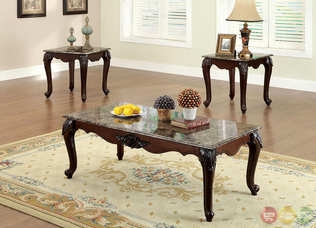Colchester Traditional Dark Cherry Accent Tables With Faux
