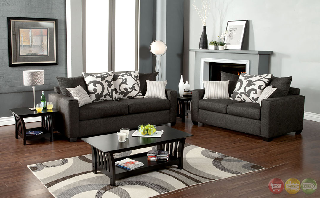 Colebrook Contemporary Medium Gray Living Room Set With Pillows SM3010