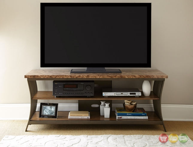 Collison Contemporary 60 Quot Brown Faux Marble Tv Stand With