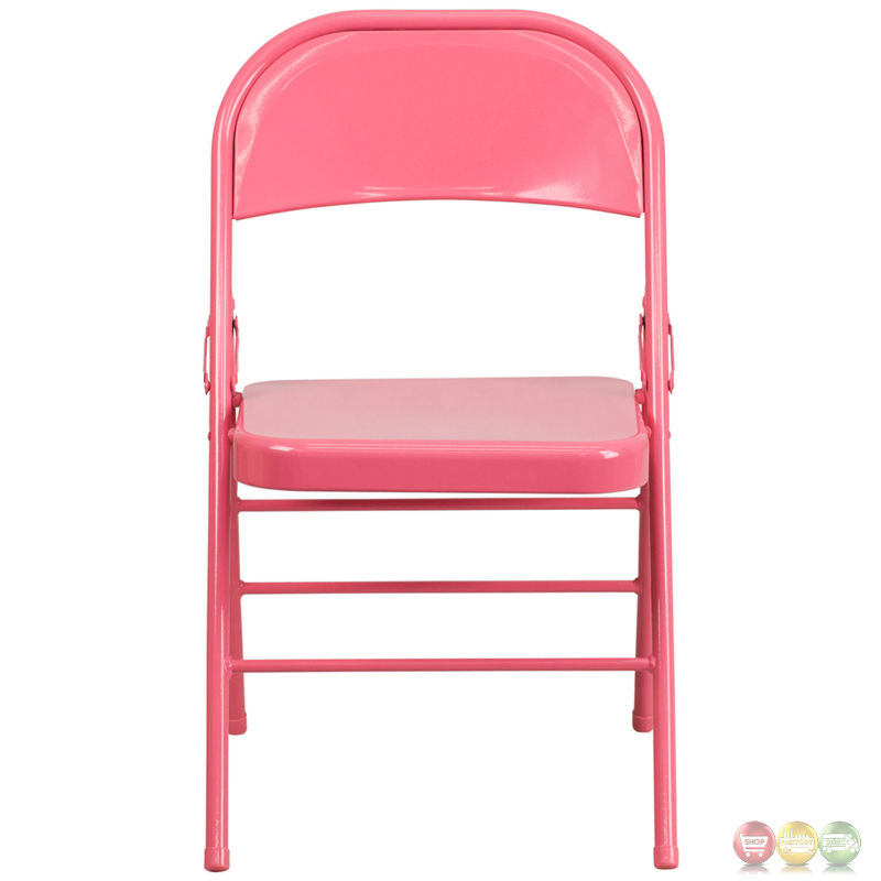 ... Bubblegum Pink Triple Braced & Double Hinged Metal Folding Chair