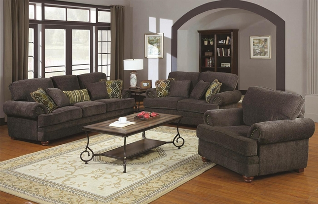 Colton Smokey Grey Chenille Upholstered Traditional Sofa Set