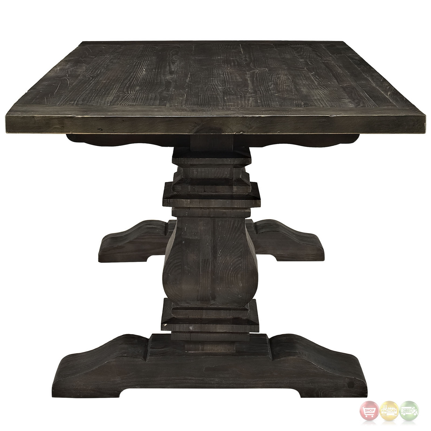 "Wood And Black Dining Table: Column Modern Rustic 79"" Solid Pine Wood Dining Table, Black"