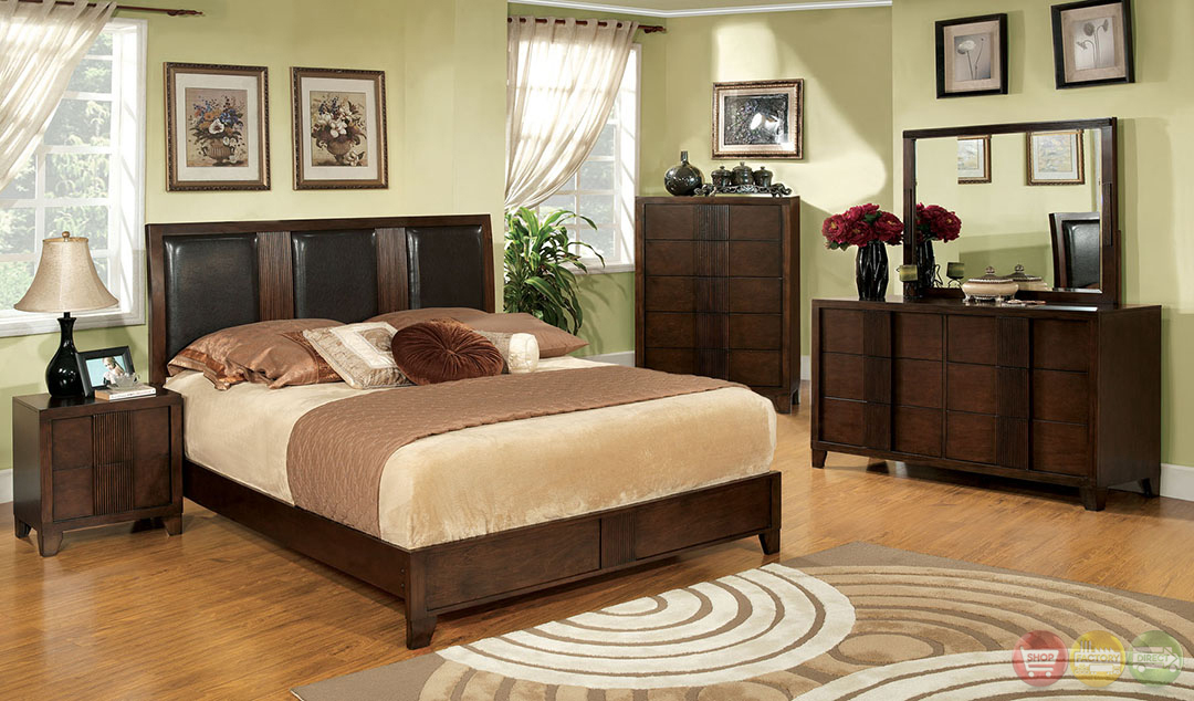 Colwood Contemporary Brown Cherry Bedroom Set With Leatherette