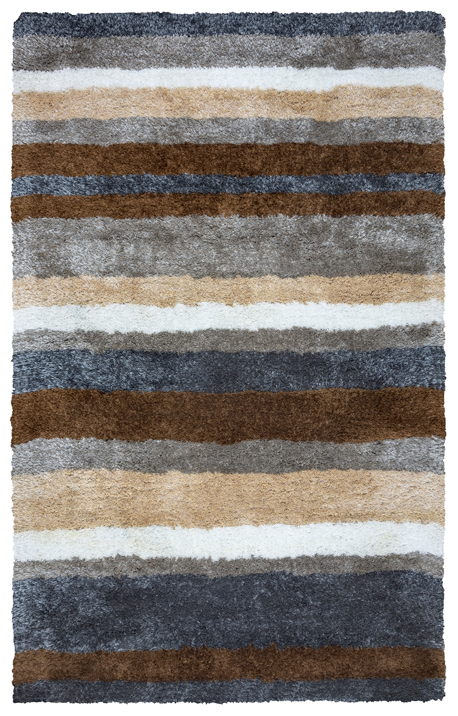 Commons Multi Stripe Pattern Area Rug In Grey Blue Brown