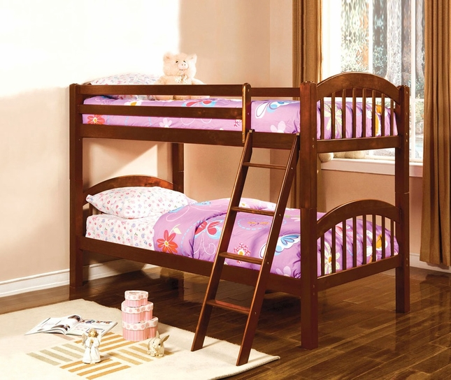 Coney Island Picket French Cherry Bunk Bed with Front Access Fixed Ladder