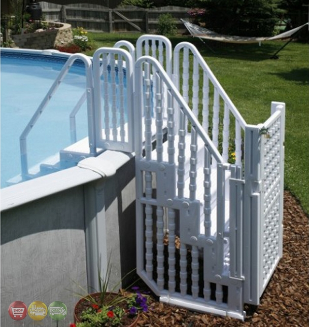 Above Ground Pool Complete Safety Stair Entry System With