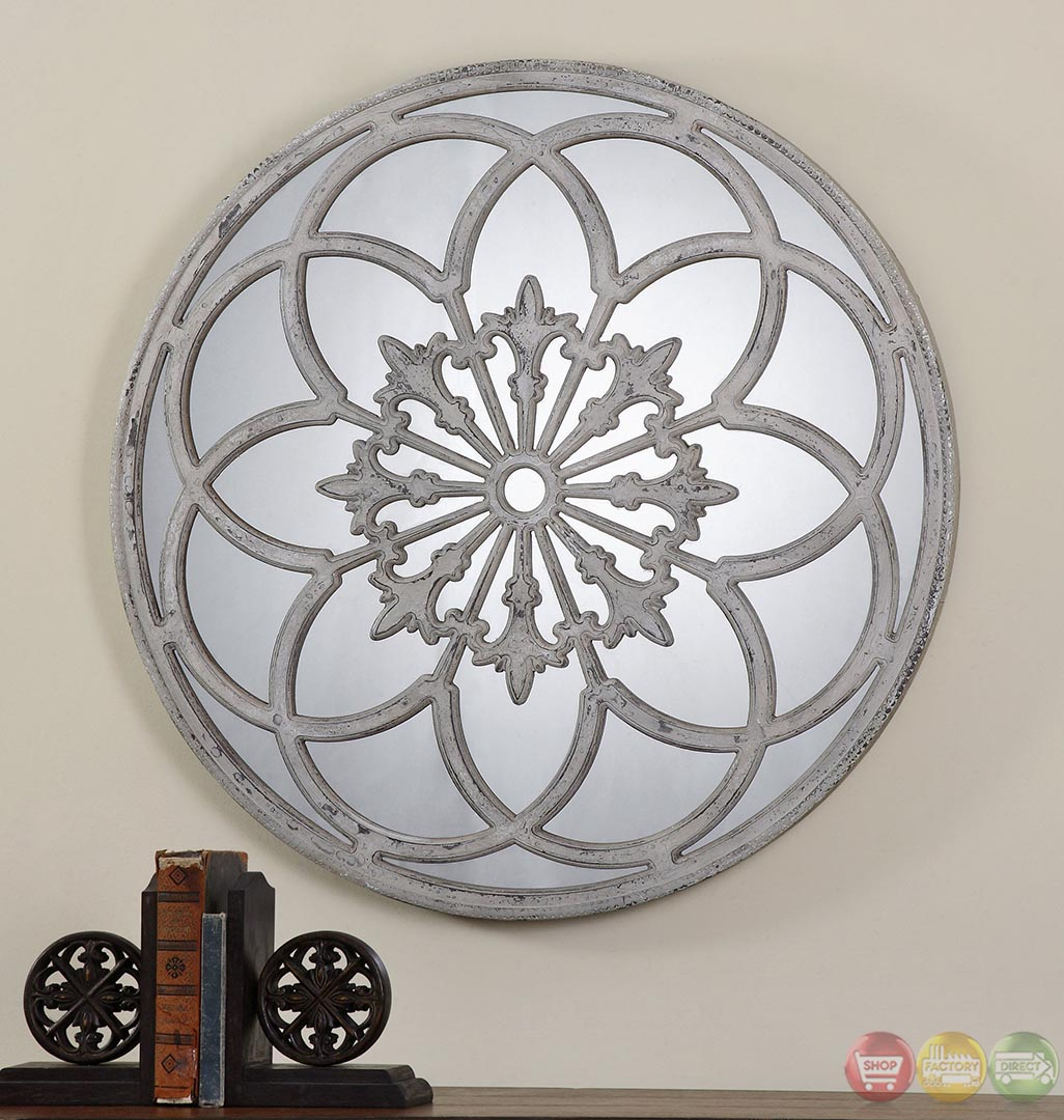 Conselyea Aged Ivory Cathedral Window Style Round Mirror