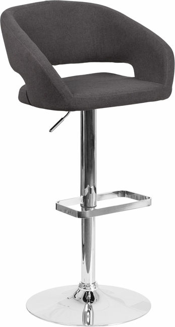Contemporary Black Fabric Adjustable Height Barstool With Chrome Base