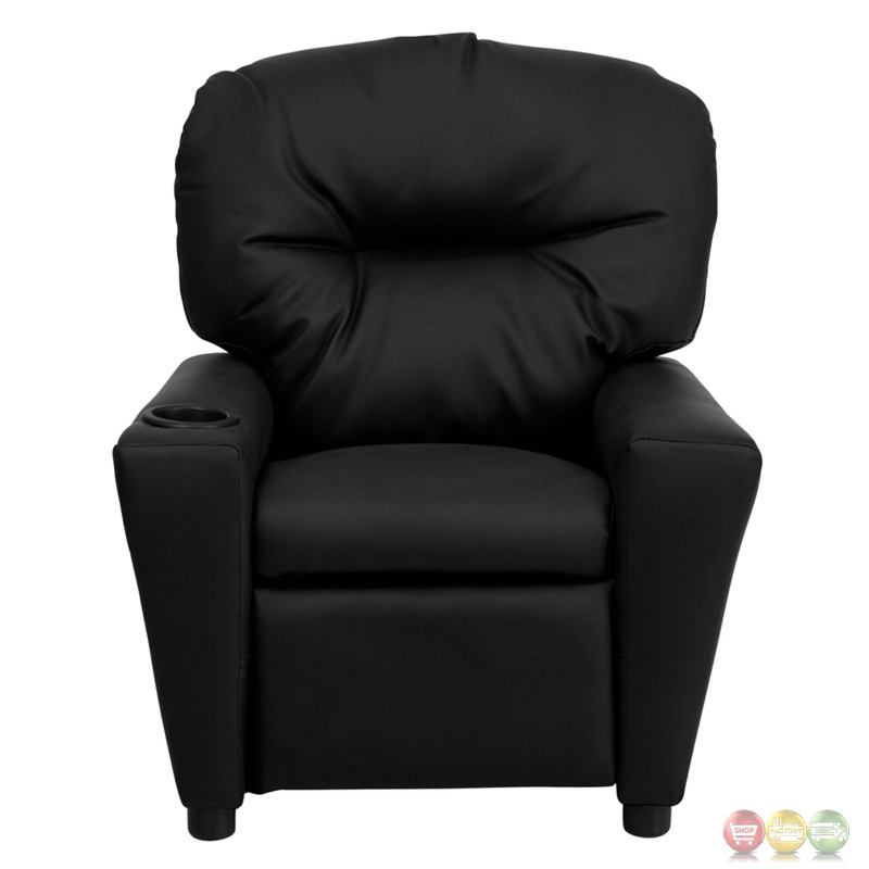 Contemporary Black Leather Kids Recliner with Cup Holder ...