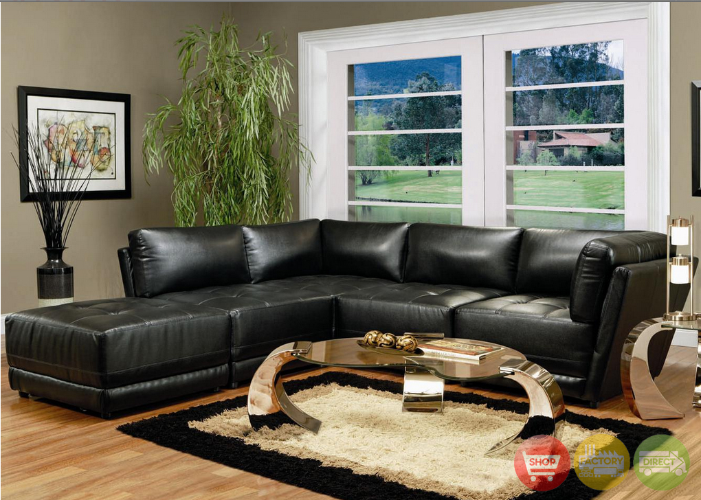 Contemporary Black Leather Modular Sectional Sofa Set Coaster