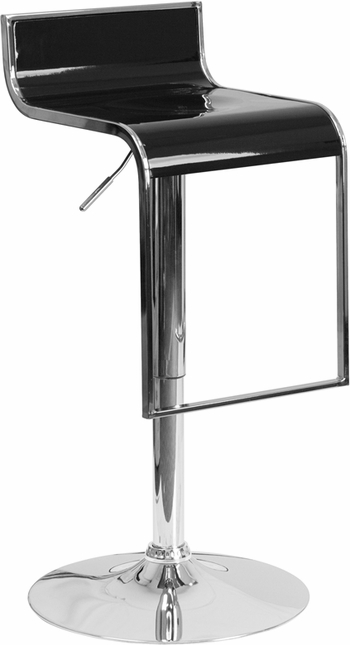 Contemporary Black Plastic Adjustable Height Barstool With Chrome Drop Frame