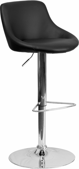 Contemporary Black Vinyl Bucket Seat Adjustable Height Barstool With Chrome Base