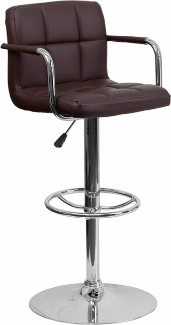 Contemporary Brown Quilted Vinyl Adjustable Height Barstool W/ Chrome Base