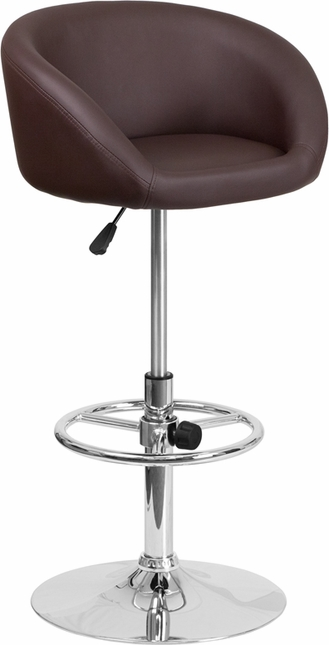 Contemporary Brown Vinyl Adjustable Height Barstool With Chrome Base