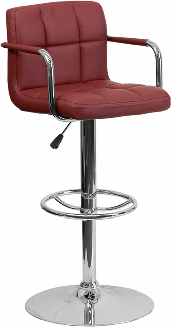 Contemporary Burgundy Quilted Vinyl Adjustable Height Barstool W/ Chrome Base