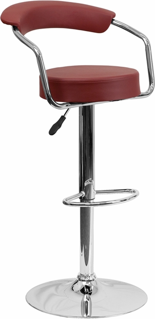 Contemporary Burgundy Vinyl Adjustable Height Barstool With Arms And Chrome Base