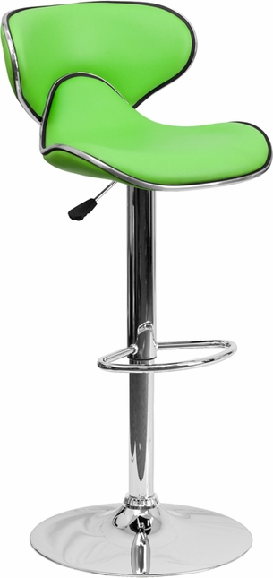 Contemporary Cozy Mid-back Green Vinyl Adjustable Height Barstool W/ Chrome Base