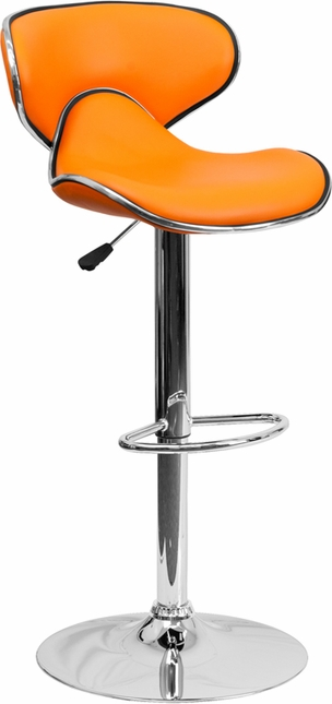 Contemporary Cozy Mid-back Orange Vinyl Adjustable Height Barstool W/ Chrome Base