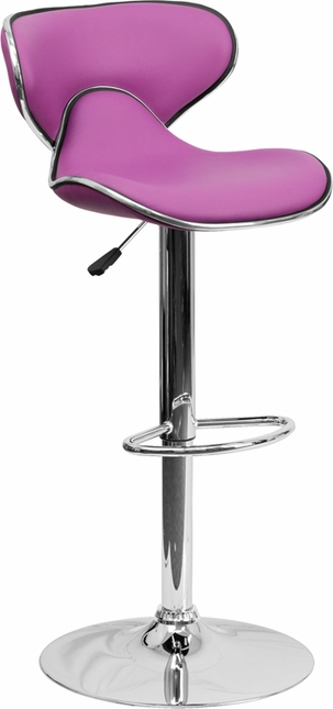 Contemporary Cozy Mid-back Purple Vinyl Adjustable Height Barstool W/ Chrome Base