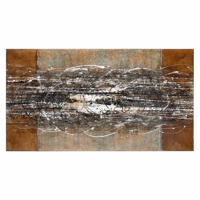"""Contemporary Earth Toned Frantic Abstract Art On Rectangular Canvas, 70""""x38"""""""