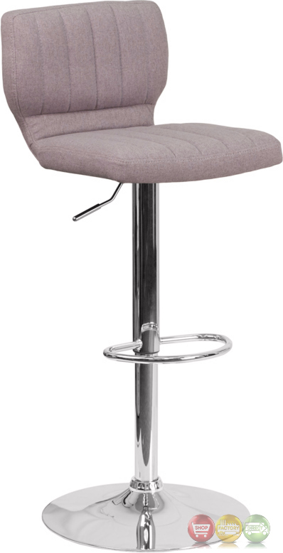 Contemporary Gray Fabric Adjustable Height Barstool With