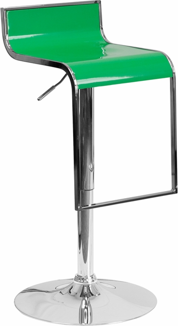 Contemporary Green Plastic Adjustable Height Barstool With Chrome Drop Frame