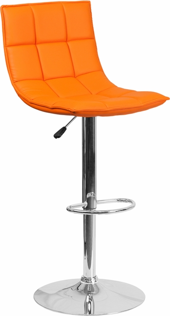 Contemporary Orange Quilted Vinyl Adjustable Height Barstool With Chrome Base