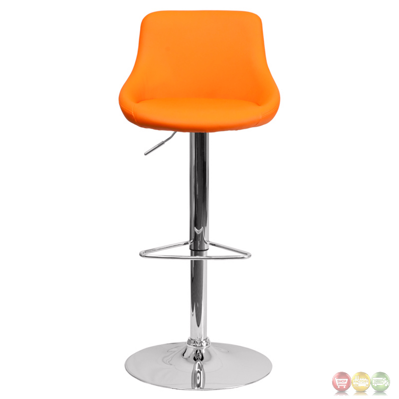 Contemporary Orange Vinyl Bucket Seat Adjustable Height