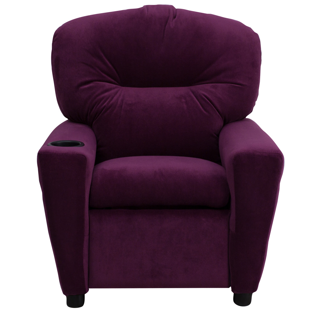 Contemporary Purple Microfiber Kids Recliner with Cup