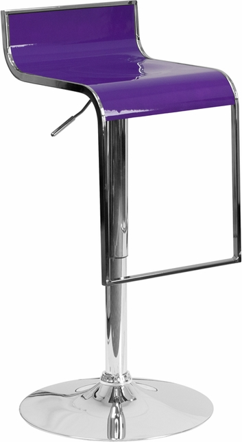 Contemporary Purple Plastic Adjustable Height Barstool With Chrome Drop Frame